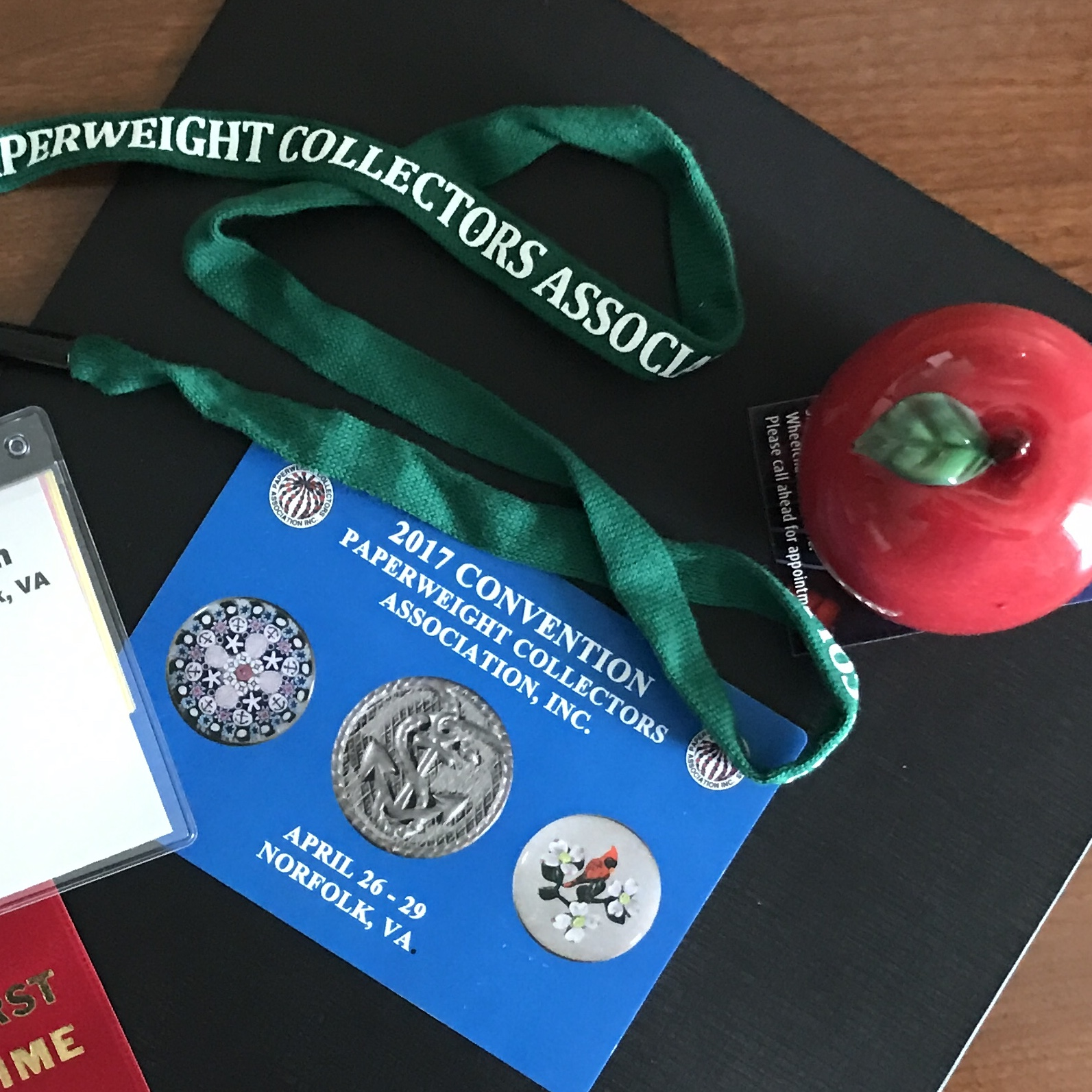 2017 Norfolk Convention Badge, Apple Paperweight and Folder