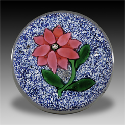 New England Glass Company pink poinsettia on blue and white jasper ground