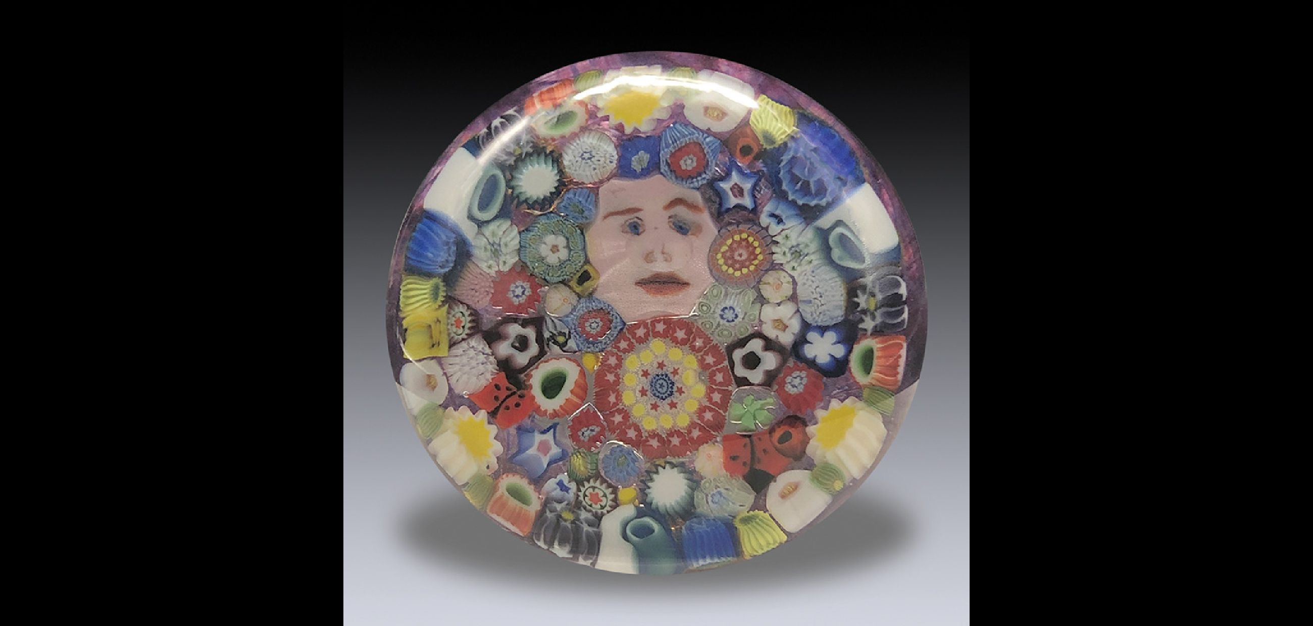 "John Deacons Cold work by Gordon Taylor, ""Closepack Millefiori with Edwardian Arch Cut Triple Overlay"""