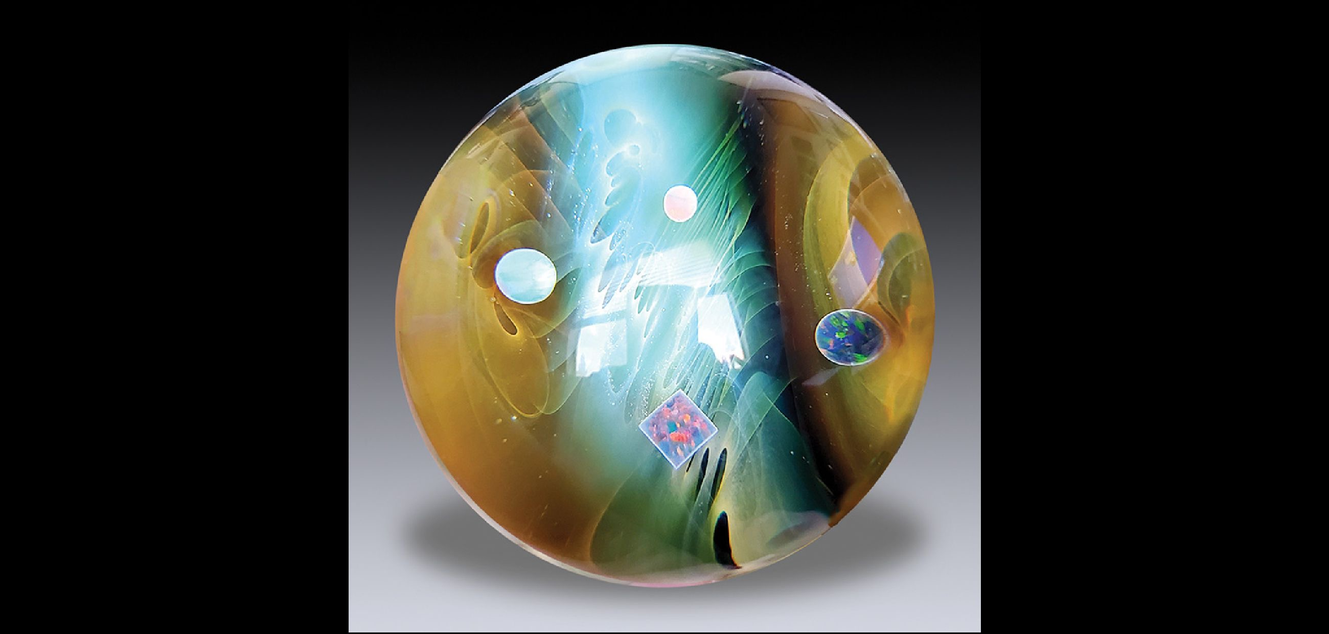 "Chris Sherwin Faceting by Jim Poore, ""Red Crimp Rose Footed Paperweight"""